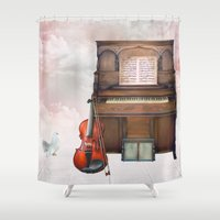 cello Shower Curtains featuring Music in the heaven by Simone Gatterwe