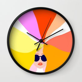 Girl Power - Rainbow Hair #girlpower Wall Clock