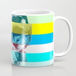 Striped Glitch Skull Coffee Mug