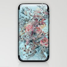 Lush vintage floral pastel wood panel iPhone & iPod Skin