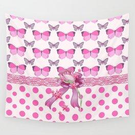Pretty Pink Butterflies Wall Tapestry