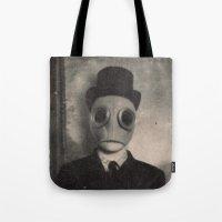 gentleman Tote Bags featuring Gentleman by nihilnihilnihil
