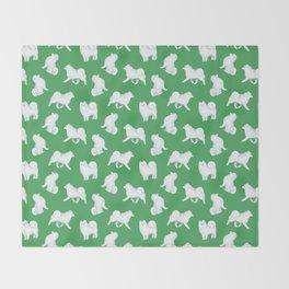 Samoyed Pattern (Green Background) Throw Blanket