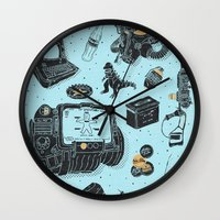 fallout Wall Clocks featuring Artifacts: Fallout by Josh Ln