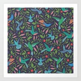 Hummingbirds and Hibiscus Tropical Pattern Art Print