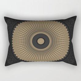 Gold Coin Mandala on Marble Rectangular Pillow