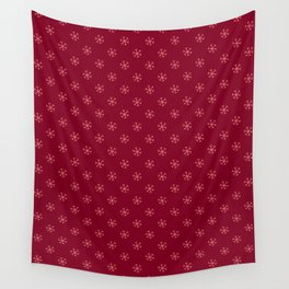 Coral Pink on Burgundy Red Snowflakes Wall Tapestry