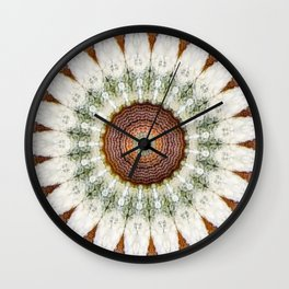 Textured Daisy Mandala Brown Wall Clock