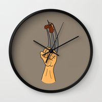 x men Wall Clocks featuring x-men finger puppet by gazonula
