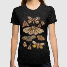 Moths Tri-Black Womens Fitted Tee MEDIUM