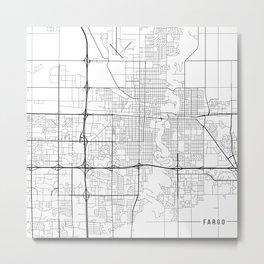 Fargo Map, USA- Black and White Metal Print
