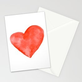 Red Watercolor Heart Stationery Cards