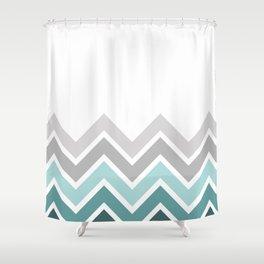 WHITE/ TEAL CHEVRON FADE Shower Curtain