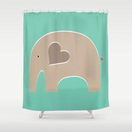 Turquoise Safari Elephant 2 Shower Curtain
