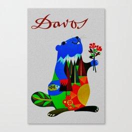 Vintage Davos Switzerland Travel - Beaver Canvas Print