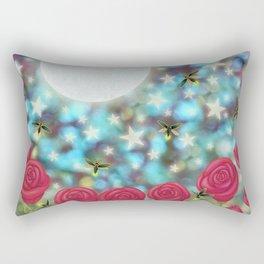 the moon, stars, fireflies, & roses Rectangular Pillow