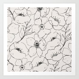 Floral Simplicity - Neutral Black Art Print
