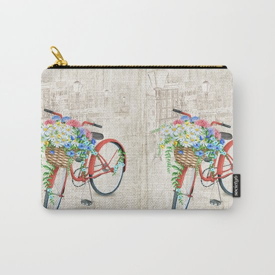 Red bike & white daisy Carry-All Pouch