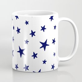 Stars - Navy Blue on White Coffee Mug