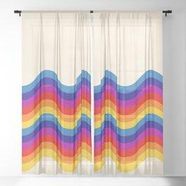 Wavy retro rainbow Sheer Curtain