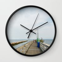 boardwalk empire Wall Clocks featuring Boardwalk by Alexandre1983 Photography