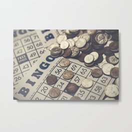 Vintage Bingo Board Game 8 Metal Print