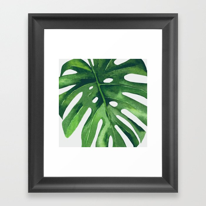Monstera Leaf Gerahmter Kunstdruck