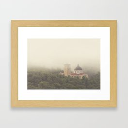 Fog Over The Shrine Framed Art Print
