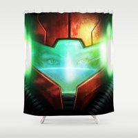 metroid Shower Curtains featuring Metroid by Joe Roberts