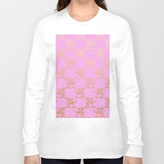 Princess like I - Gold glitter effect lion pattern on pink background #Society6 Long Sleeve T-shirt