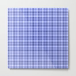 Small Cobalt Blue and White Houndstooth Check Pattern Metal Print
