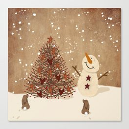 Primitive Country Christmas Tree Canvas Print
