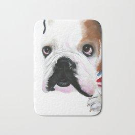 Nosey British Bulldog ' REGGIE ' by Shirley MacArthut Bath Mat