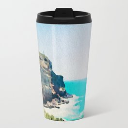 Dunedin coast in watercolor, New Zealand Travel Mug