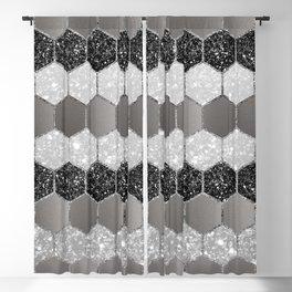 Silver Hexagon Glitter Glam #1 #geometric #decor #art #society6 Blackout Curtain