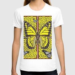 Yellow & Grey Celtic Monarch Butterfly Brown Art T-shirt