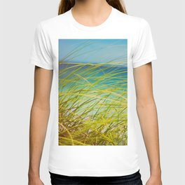 Seagrass By The Ocean Blue Waves Colorful Green To Blue Gradient T-shirt