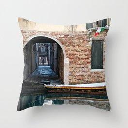 Winter Canal Throw Pillow