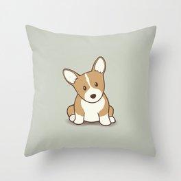 Welsh Corgi Puppy Illustration Throw Pillow