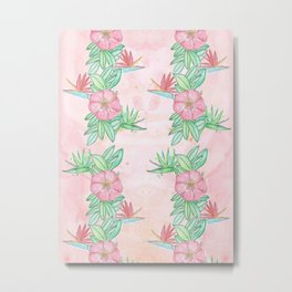 Tropical flowers and leaves watercolor Metal Print
