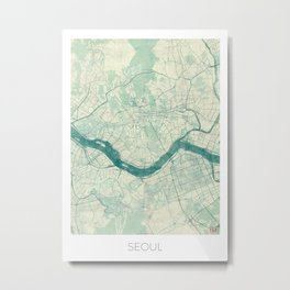 Seoul Map Blue Vintage Metal Print