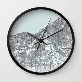 Cleveland, OH, USA, White, City, Map Wall Clock