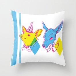 Circus Taxidermy freakshow birthday pair Throw Pillow