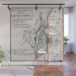 Vintage Map of St. Augustine Florida (1737) Wall Mural