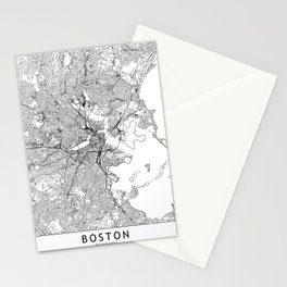 Boston White Map Stationery Cards