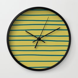 Tropical Dark Teal Simple Minimal Hand Drawn Horizontal Line Pattern 3 Inspired by Sherwin Williams 2020 Trending Color Oceanside SW6496 on Dark Yellow Wall Clock