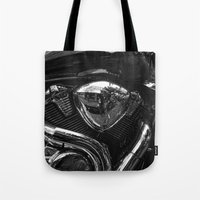 harley Tote Bags featuring Harley  by Cozmic Photos