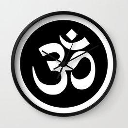 Black Om Symbol Mandala Wall Clock