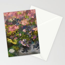 Pond with flowers Stationery Cards