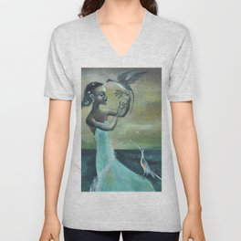 African American Masterpiece 'Girl at the Ocean' by Karl Priebe Unisex V-Neck